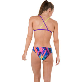 speedo Fizzbounce 2 Piece Crossback Bikini Dame violet/limepunch/turquoise